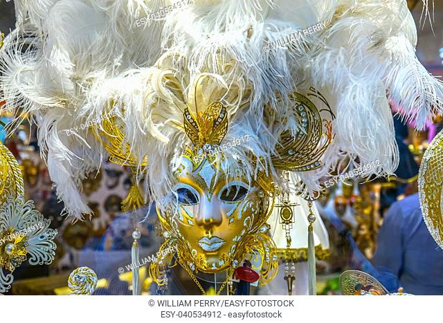 White Venetian Masks Venice Italy Used since the 1200s for Carnival, which were celebrated just before Lent. In ancient times