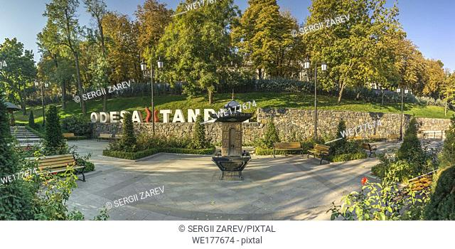 Panoramic view in the Istanbul park in Odessa, Ukraine on a sunny autumn morning
