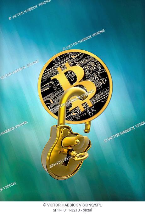 Bitcoin with a padlock through it, computer illustration