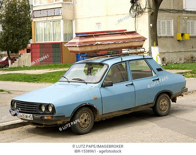 Coffin on a Dacia car, Romania, Europe