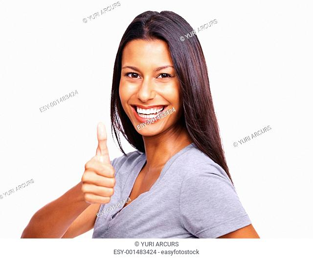 Portrait of cheerful young lady giving a thumbs up sign against white background