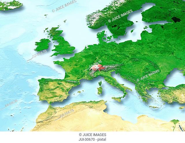 Switzerland, flag, map, Western Europe, physical
