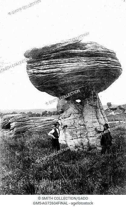 Pulpit rock near Alum Creek south of Carneiro, in Ellsworth County, Kansas, which is a hard mass of Dakota sandstone that has resisted erosion better than the...