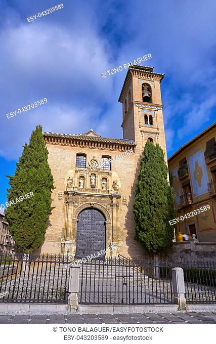Saint Gil and Ana church in Granada at Darro of Albaicin district of Andalusia Spain