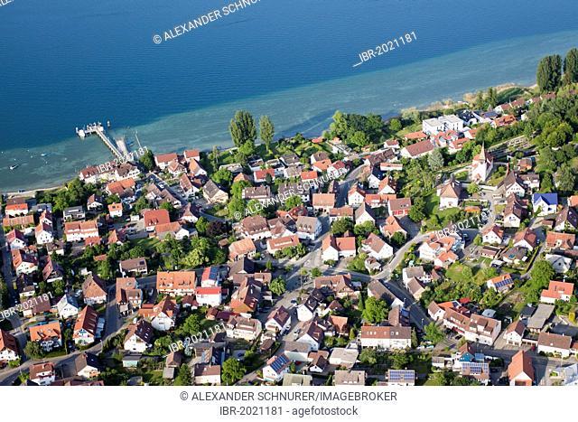 Aerial view, the Bodanrueck community of Konstanz-Dingelsdorf on Lake Constance, Konstanz district, Baden-Wuerttemberg, Germany, Europe