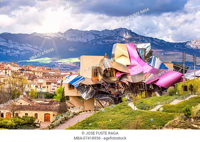 El Ciego City, Frank Gehry architect, La Rioja Area, Logroño province, Marques de Riscal Hotel, Spain, wine cellar