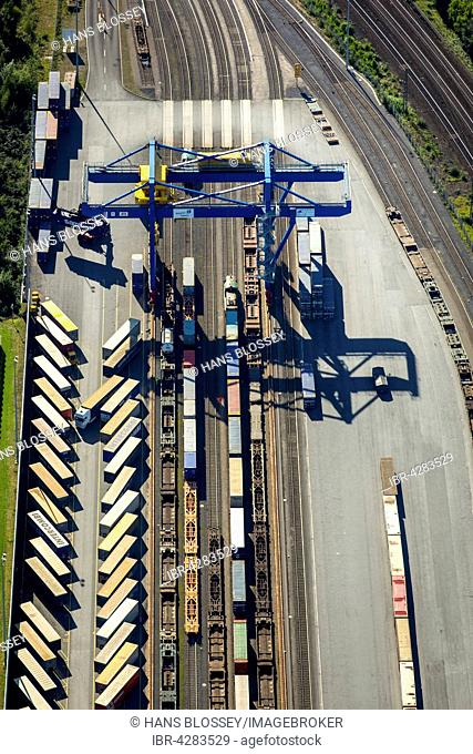 Logport III, logistics, Duisport, Budberg, Container Terminal, transfer station, Duisburg, Ruhr district, North Rhine-Westphalia, Germany