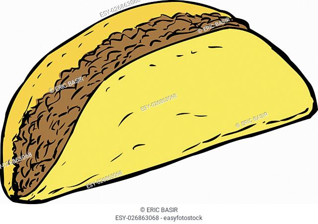Yellow cartoon corn taco shell filled with beef over white background