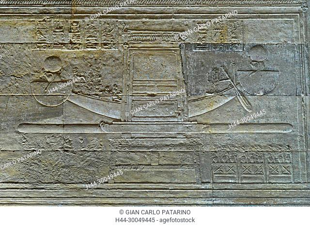 Dendera Egypt, ptolemaic temple dedicated to the goddess Hathor. Carvings on internal wall