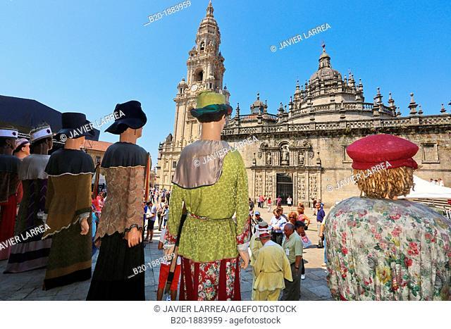 Galician folklore, Feast day of Santiago, July 25, Catedral, Praza da Quintana, Santiago de Compostela, A Coruña province, Galicia, Spain