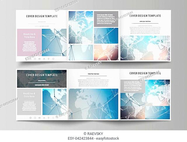The abstract minimalistic vector illustration of the editable layout. Two creative covers design templates for square brochure