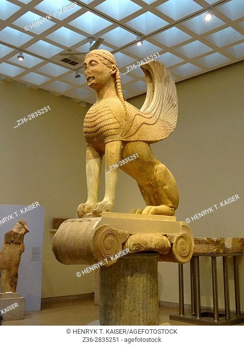 Greece Delphi famous Museum of Delphi with old Egyptian Sphinx statue