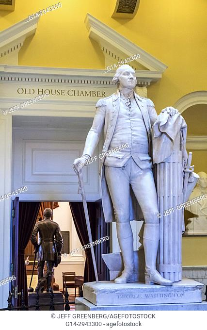 Virginia, Richmond, Virginia State Capitol Building, National Historic Landmark, rotunda, George Washington, statue, interior
