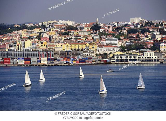 Tagus River view of the historic Lisbon skyline, Lisbon, Portugal