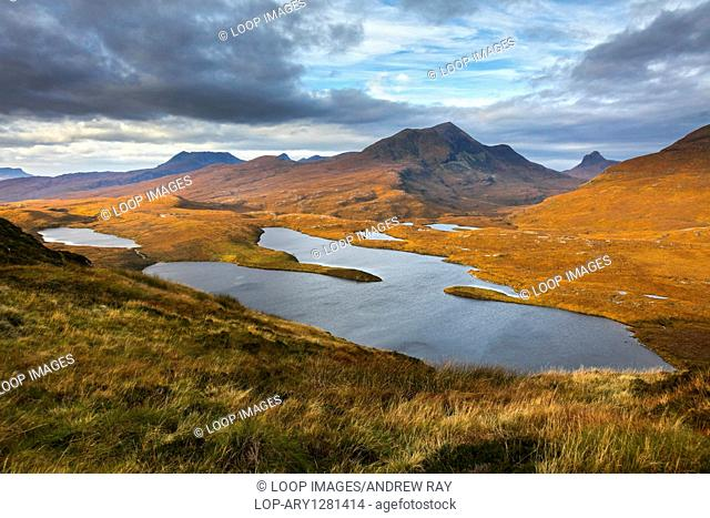 A view from the summit of Knockan Crag in Wester Ross in Scotland