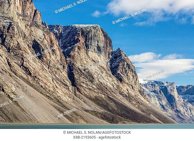 Snow-capped peaks and glaciers in Icy Arm, Baffin Island, Nunavut, Canada