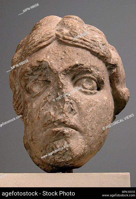 Head of a Youth. Date: ca. 1150-75; Geography: Made in Provence, France; Culture: French; Medium: Limestone; Dimensions: Overall: 7 1/16 x 5 11/16 x 5 5/8 in