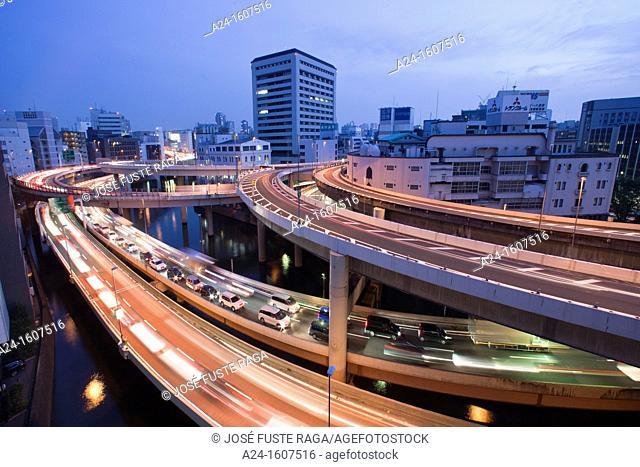Japan-Tokyo City-Nihonbashi-Shuto Expressway Crossing