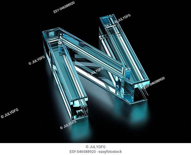 Glass letter N on a black background. 3D illustration