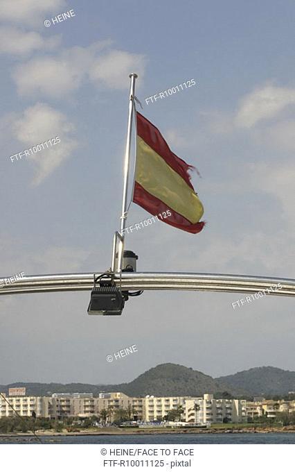 Spanish flag on a boat, Mallorca, Spain