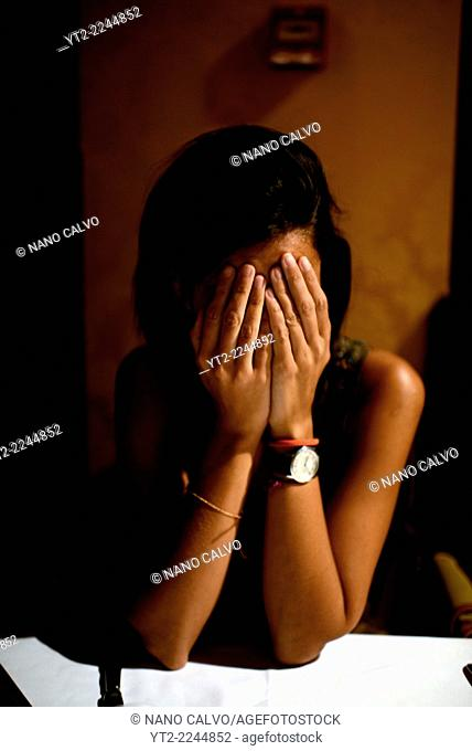 Sad woman in restaurant