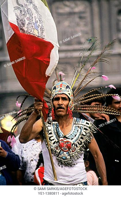 Indian man celebrating the Day of the Virgin of Guadalupe in Mexico City, Mexico