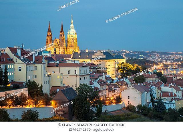 Night falls at Hradcany, Prague, Czech Republic