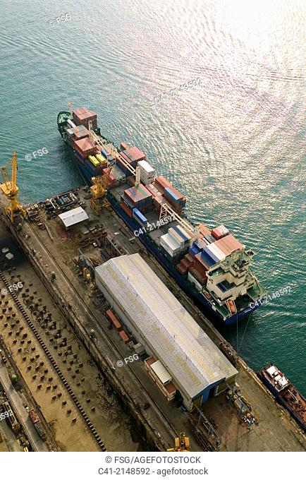 Vessel with containers. Port of Tarragona, Spain
