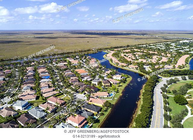Florida, Weston, aerial view, homes residences bordering Everglades Wildlife Management Area Water Conservation Area 2B, Francis S