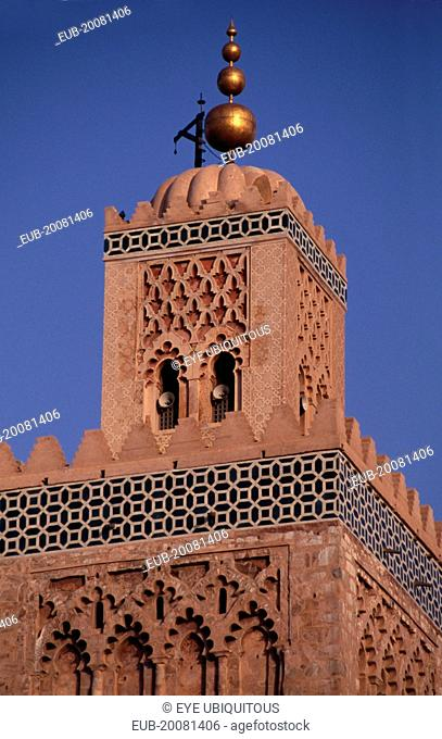 Koutoubia Mosque. Part view of minaret.Marrakesh Moslem Marrakech Muslim
