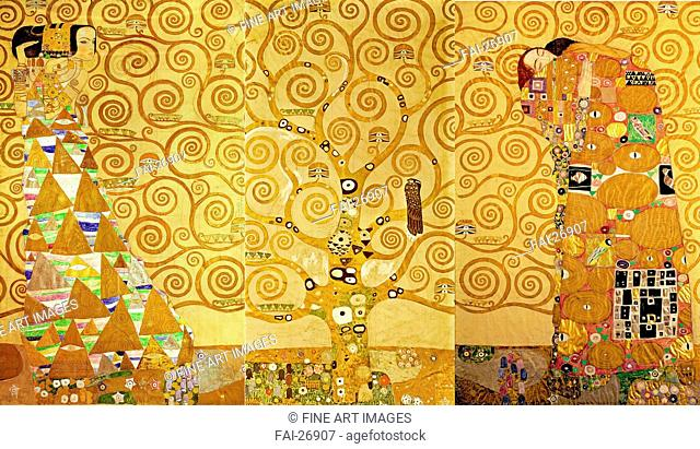 The Stoclet Frieze, Detail: The Expectation, Tree of Life. Klimt, Gustav (1862-1918). Tempera on cardboard. Art Nouveau. 1905-1909. Austria