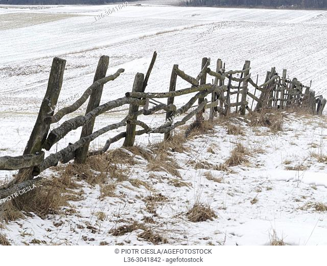 Poland. First snow. Old fence