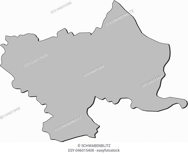 Map of Utena, a province of Lithuania
