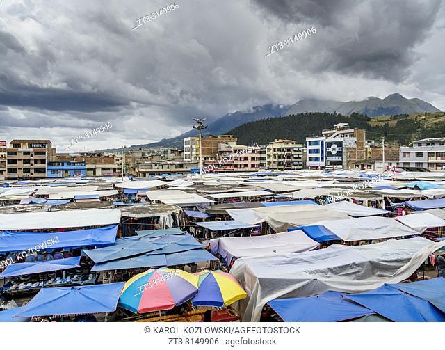 Saturday Handicraft Market, Plaza de los Ponchos, elevated view, Otavalo, Imbabura Province, Ecuador