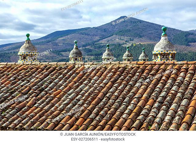 Parador Inn historic building roof, Guadalupe, Caceres, Extremadura, Spain