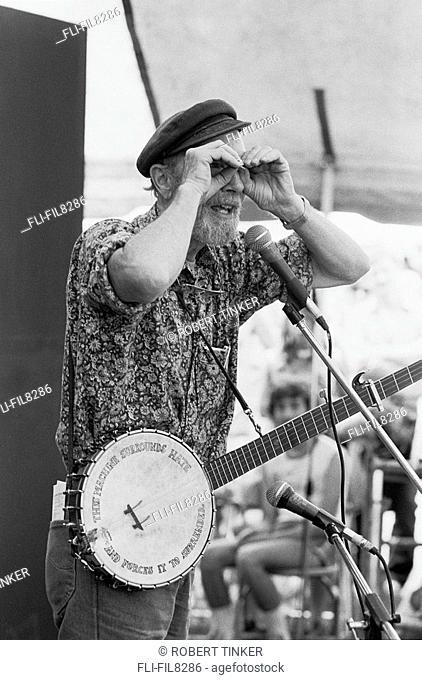 Pete Seger Performing at a Childrens' Workshop, 1985 Winnipeg Folk Festival, Bird's Hill Park, Manitoba