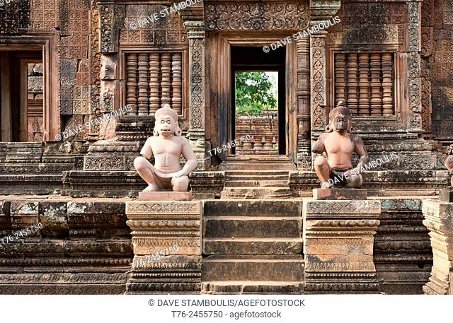 Monkey statues at the Banteay Srei temple at Angkor Wat in Siem Reap, Cambodia