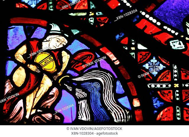 Glass painting in Bourges Cathedral 13 cent , UNESCO World Heritage Site, Bourges, France