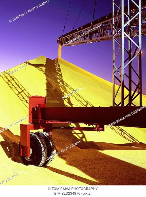 Conveyor belt pouring grain into pile at granary