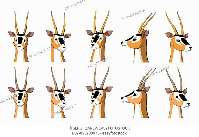 Set of African Antelope Gazelle images. Digital painting full color cartoon style illustration isolated on white background