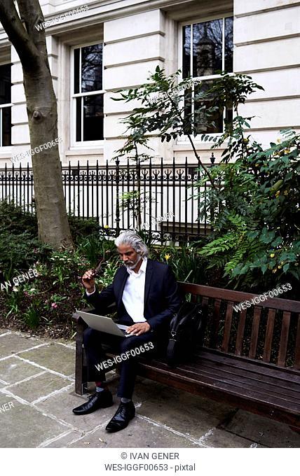Senior businessman sitting on bench outdoors working on laptop