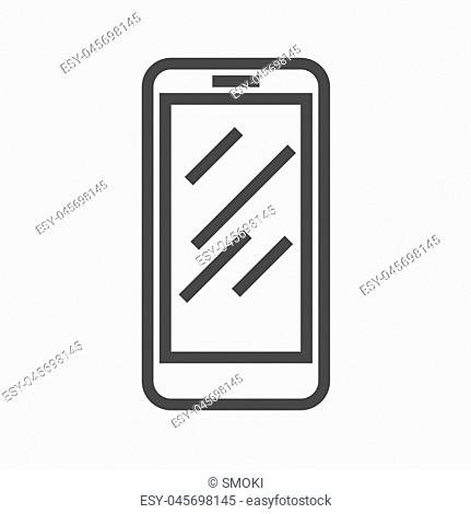 Smartphone Thin Line Vector Icon. Flat icon isolated on the white background. Editable EPS file. Vector illustration