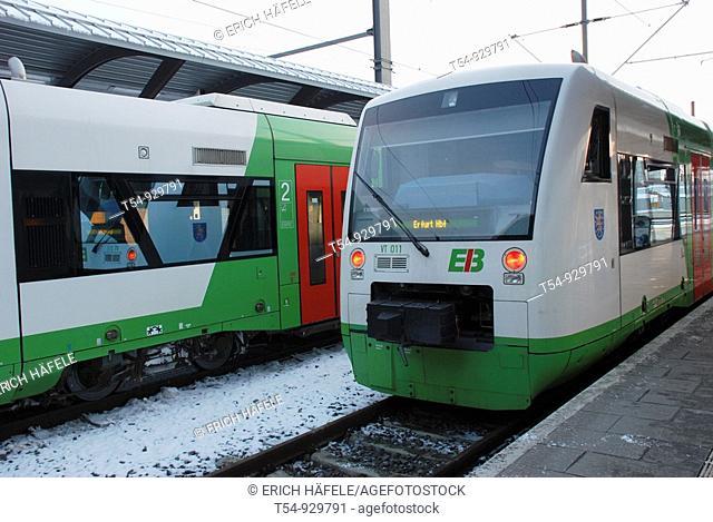 Regional Train of the Erfurtbahn in Erfurt railwaystation, Germany