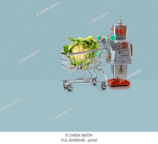Toy robot pushing miniature shopping trolley with cauliflower against blue background