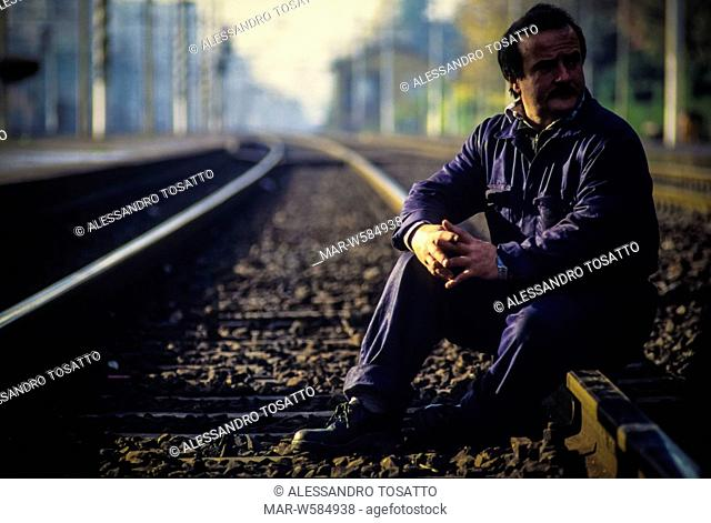 metalworker of falck demostration on railroad track, 1990