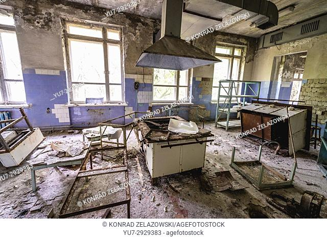 Hospital kitchen in Pripyat ghost city of Chernobyl Nuclear Power Plant Zone of Alienation around nuclear reactor disaster in Ukraine