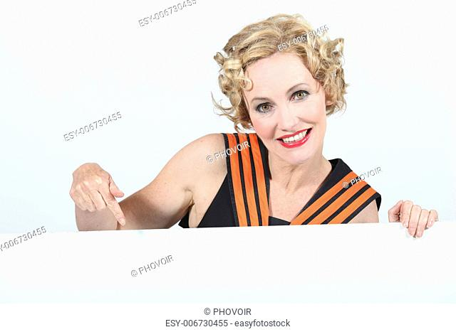 Woman pointing poster