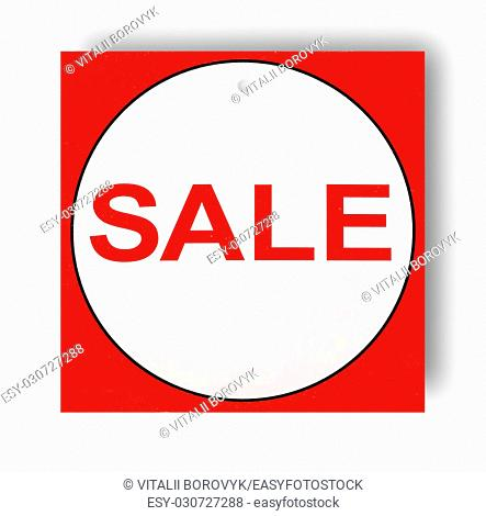 Red and white Sale sign isolated on white background