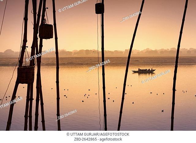 Morning activities at River Ganges during sunrise.Varanasi, Banaras, Uttar Pradesh, India, Asia