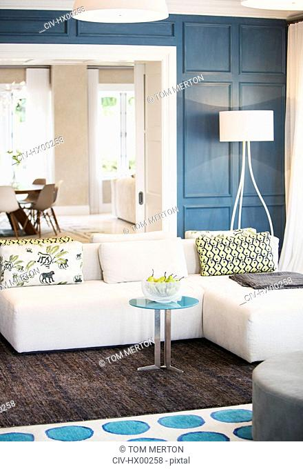 Home showcase living room with chaise sofa